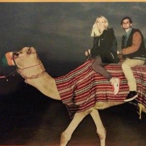 Riding a camel in Dubai